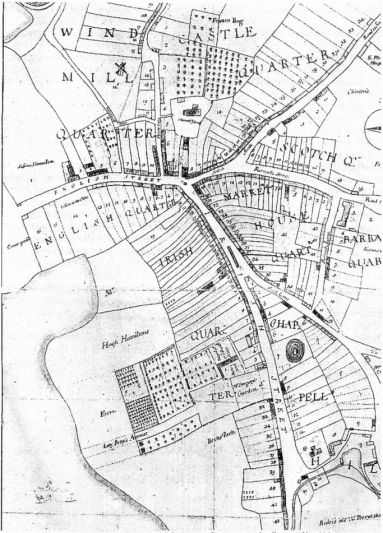 From 'A Survey of the town of Downpatrick in the County of Down and province of Ulster in Ireland' by James Maguire 1708 - PRONI D4 77A